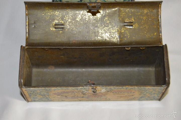 Cajas y cajitas metálicas: VINTAGE - CONFITERIA DE MARON - MADE DE 100 AÑOS - ANTIGUA CAJA DE HOJA LATA - MUY DECORATIVA - Foto 7 - 58159732