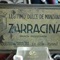 Cajas y cajitas metálicas: TAPA DE LATA DE ZARRACINA ZUMO DE MANZANA,GIJON ASTURIAS,AÑOS 30 APROX. Lote 58163962