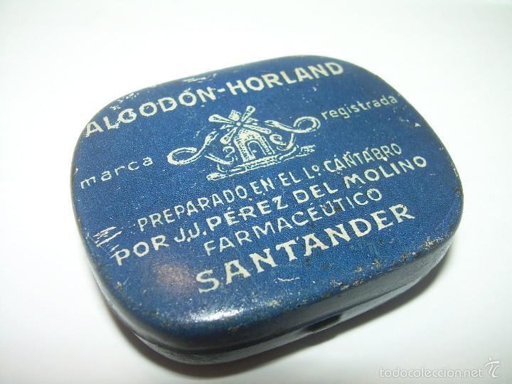 ANTIGUA CAJITA DE HOJALATA LITOGRAFIADA....ALGODON HORLAND...SANTANDER. (Coleccionismo - Cajas y Cajitas Metálicas)