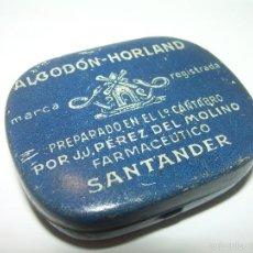 Cajas y cajitas metálicas: ANTIGUA CAJITA DE HOJALATA LITOGRAFIADA....ALGODON HORLAND...SANTANDER.. Lote 58398688