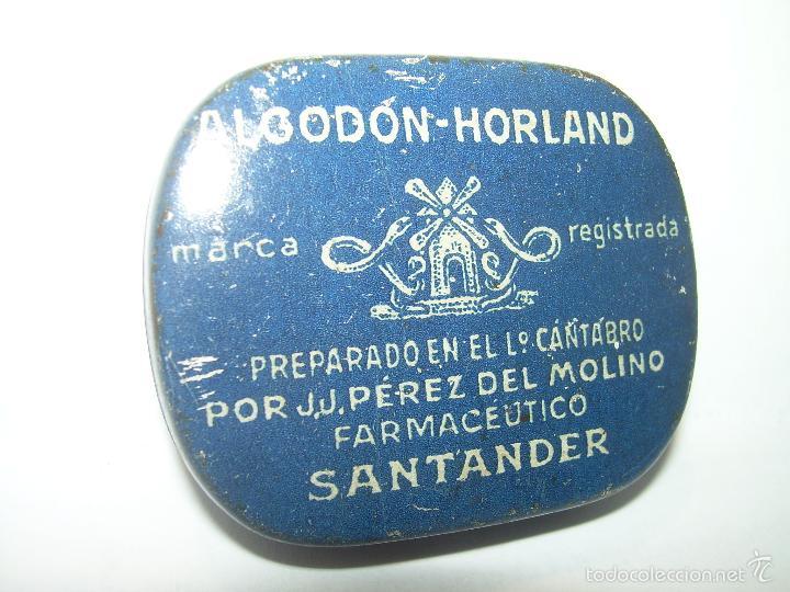 Cajas y cajitas metálicas: ANTIGUA CAJITA DE HOJALATA LITOGRAFIADA....ALGODON HORLAND...SANTANDER. - Foto 2 - 58398688