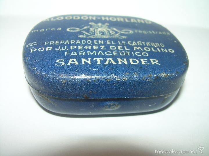 Cajas y cajitas metálicas: ANTIGUA CAJITA DE HOJALATA LITOGRAFIADA....ALGODON HORLAND...SANTANDER. - Foto 3 - 58398688