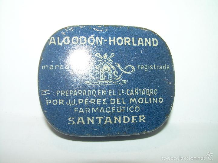 Cajas y cajitas metálicas: ANTIGUA CAJITA DE HOJALATA LITOGRAFIADA....ALGODON HORLAND...SANTANDER. - Foto 5 - 58398688