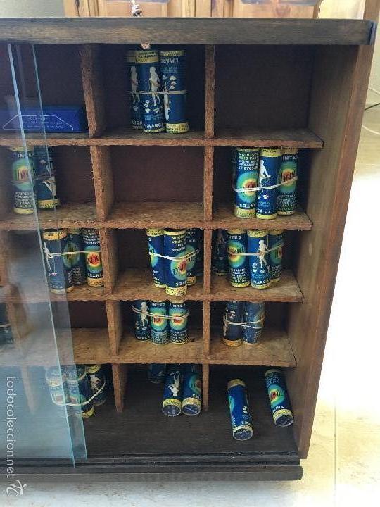 Cajas y cajitas metálicas: ANTIGUO MUEBLE EXPOSITOR DE TINTES IBERIA - Foto 8 - 58438361