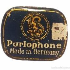 Cajas y cajitas metálicas: ANTIGUA CAJITA METALICA LITOGRAFIADA AGUJAS DE GRAMOFONO PARLOPHONE MADE IN GERMANY. Lote 49750745