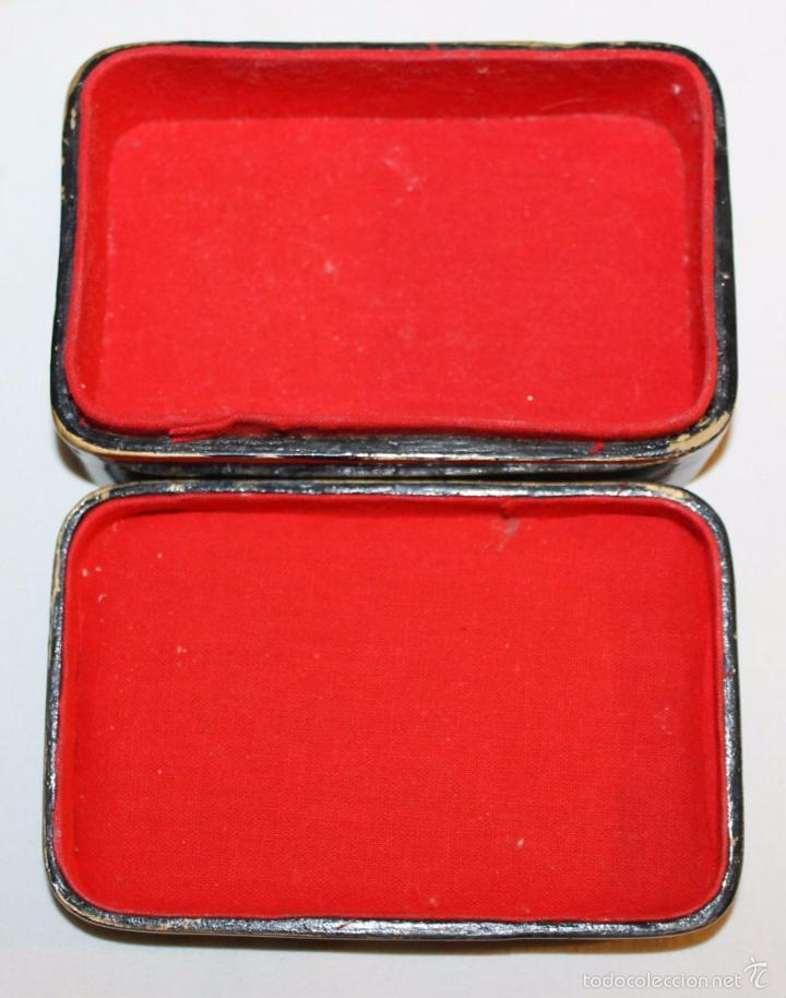 Cajas y cajitas metálicas: CAJA ORIENTAL EN MADERA LACADA CON CISNE DE NÁCAR - PINTADA A MANO - PRINCIPIOS DEL SIGLO XX - Foto 6 - 59861264