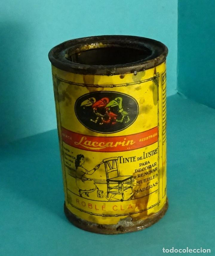 BOTE VACÍO DE PINTURA MARCA LACCARIN TINTE DE LUSTRE ROBLE CLARO (Coleccionismo - Cajas y Cajitas Metálicas)