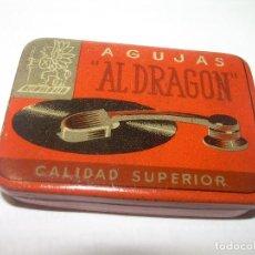 Cajas y cajitas metálicas: ANTIGUA CAJA PARA AGUJAS DE GRAMOFONO.....AL DRAGON.....PERFECTO ESTADO DE CONSERVACION.. Lote 62900048