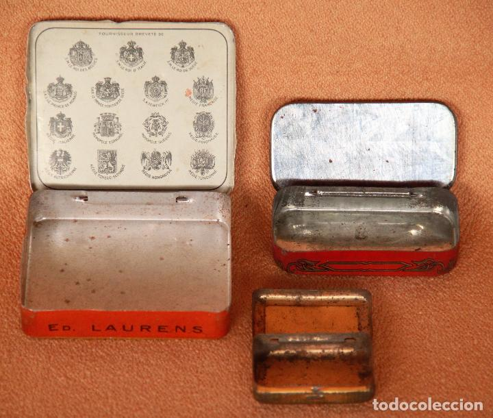 Cajas y cajitas metálicas: Lote de 3 cajitas metálicas. Cigarros y Medicina. - Foto 2 - 63418456
