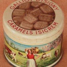 Cajas y cajitas metálicas: ANTIGUA LATA METALICA SERIGRAFIADA DE CARAMELOS GALLIOT D'ISIGNY. FRANCIA. Lote 63422128