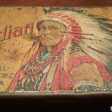 Cajas y cajitas metálicas: CAJA DE LATA - TABACO INDIAN. AÑOS 20 - 30. (HOJALATA LITOGRAFIADA) MANUEL FERNÁNDEZ. HABANA.. Lote 64326845