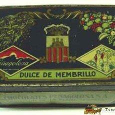 Cajas y cajitas metálicas: ANTIGUA CAJA DE HOJALATA LITOGRAFIADA ESPAÑOLA CON PUBLICIDAD DE DULCE DE MEMBRILLO PEÑAGOLOSA - CAS. Lote 11708867