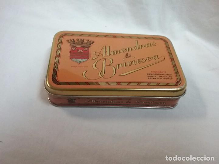 CAJA METÁLICA VACIA ALMENDRAS DE BRIVIESCA ( BURGOS ) - FABRICANTE DESIDERIO ALONSO (Coleccionismo - Cajas y Cajitas Metálicas)