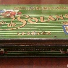 Cajas y cajitas metálicas: CAJA DE LATA (HOJALATA) VIUDA DE SOLANO. LOGROÑO. PASTILLAS DE CAFÉ Y LECHE. Lote 64679361