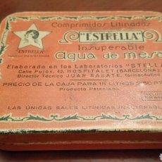 Cajas y cajitas metálicas: CAJA DE LATA (HOJALATA) LITOGRAFIADA. AGUA DE MESA ESTRELLA. COMPRIMIDOS LITINADOS.. Lote 64806803