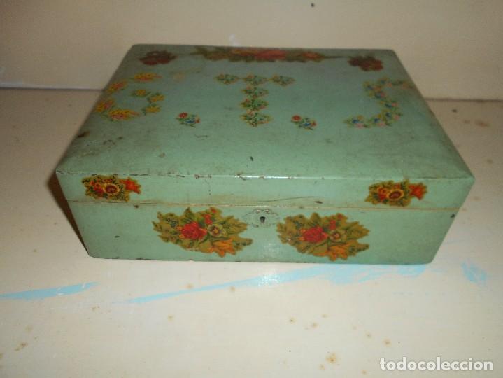 caja de madera decorada antiguo costurero de nia colegio cajas y envases cajas y - Cajas De Madera Decoradas