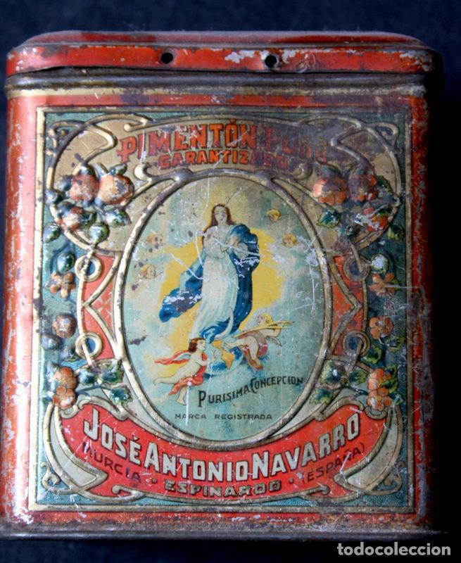 ANTIGUA LATA PIMENTON - CON RELIEVES -JOSE ANTONIO NAVARRO - PURISIMA CONCEPCION - ESPINARDO -MURCIA (Coleccionismo - Cajas y Cajitas Metálicas)