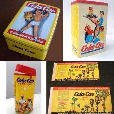 Cajas y cajitas metálicas: COLA CAO CAJA LATA BOTE ESTUCHE ETIQUETAS COLACAO. Lote 67238249