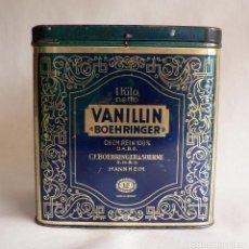 Cajas y cajitas metálicas: CAJA LATA METALICA ANTIGUA VANILLIN BOEHRINGER MANNHEIM ALEMANIA - AROMA DE VAINILLA AÑOS 40. Lote 68511549
