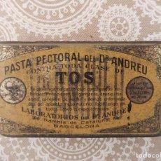 Cajas y cajitas metálicas: CAJA DE PASTA PECTORAL CONTRA LA TOS DEL DR. ANDREU. Lote 68721917