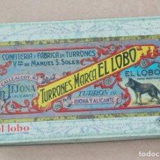 Cajas y cajitas metálicas: CAJA / LATA LITOGRAFIADA PUBLICIDAD DE TURRONES EL LOBO, DE VIUDA DE MANUEL S. SOLER. JIJONA. Lote 68867993