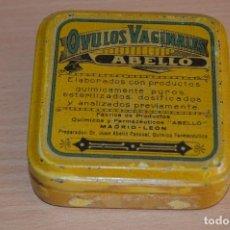 Cajas y cajitas metálicas: MUY RARA - OVULOS VAGINALES ABELLO - ANTIGUA CAJA DE HOJALATA / LATA - PRECIOSA - VINTAGE. Lote 68906737