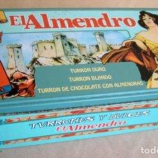 Cajas y cajitas metálicas: LATA EL ALMENDRO. ENVASE CAJA METALICA. MUJER MODERNISTA, CASTILLO, TURRONES NAVIDAD. Lote 69239605