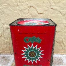 Cajas y cajitas metálicas: ANTIGUA LATA CAJA GIGANTE LITOGRAFIADA DE CAFES LA ESTRELLA HEREDEROS DE GOMEZ TEJEDOR. Lote 71109165