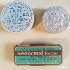 Cajas y cajitas metálicas: TRES CAJITAS ANTIQÜES DE FARMACIA: MONTSENY-83, LAXO LENTEJAS Y SEDORMID ROCHE. Lote 71253307