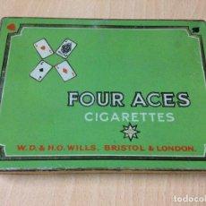 Cajas y cajitas metálicas: CAJA HOJALATA TABACO FOUR ACES CIGARETTES. Lote 72251607