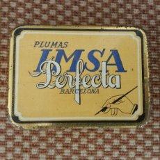 Cajas y cajitas metálicas: CAJA PLUMILLAS IMSA PERFECTA . BARCELONA. Lote 73271922
