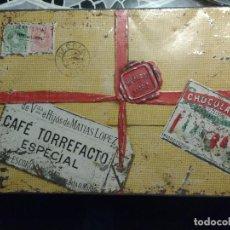 Cajas y cajitas metálicas: BONITA CAJA METALICA CAFE TORREFACTO ESPECIAL, CHOCOLATES MATIAS LOPEZ, CALLE PALMA 8 MADRID. Lote 73586635