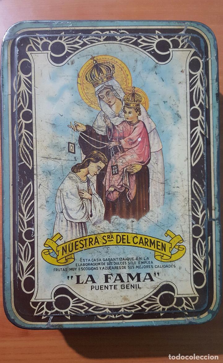 CAJA METÁLICA DE CREMA DE MEMBRILLO FAMA PUENTE GENIL (Coleccionismo - Cajas y Cajitas Metálicas)