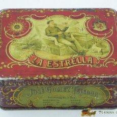 Cajas y cajitas metálicas: ANTIGUA CAJA DE HOJALATA LITOGRAFIADA CON PUBLICIDAD DE CAFE TORREFACTO LA ESTRELLA - MODERNISTA - M. Lote 75973830