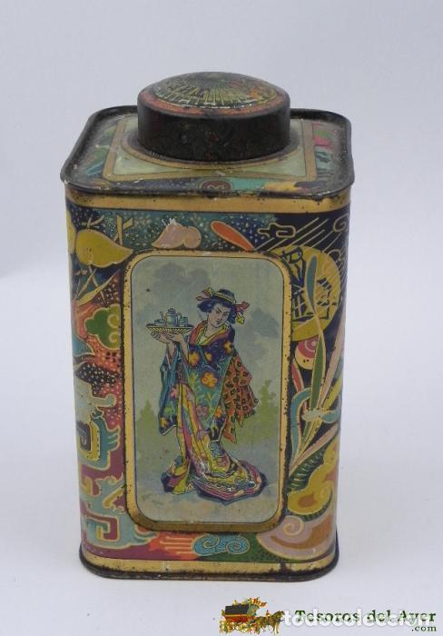 ANTIGUA CAJA DE HOJALATA LITOGRAFIADA CON PUBLICIDAD DE THE DE LA CHINA - TE, TEE - CIRAGES FRANCAIS (Coleccionismo - Cajas y Cajitas Metálicas)