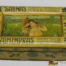 Cajas y cajitas metálicas: CAJA DE HOJALATA LITOGRAFIADA CON PUBLICIDAD DE ALMENDRAS SALINAS, ALCALA DE HENARES, MADRID, FIRMAD. Lote 74520711