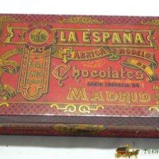 Cajas y cajitas metálicas: ANTIGUA CAJA DE HOJALATA LITOGRAFIADA CON PUBLICIDAD DE LA ESPAÑA - FABRICA MODELO CHOCOLATES CAFES. Lote 74520819