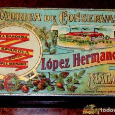 Cajas y cajitas metálicas: ANTIGUA CAJA HOJALATA LITOGRAFIADA - CON PUBLICIAD DE FABRICA DE CONSERVAS LOPEZ HERMANOS, MALAGA -. Lote 74521158