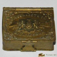 Cajas y cajitas metálicas: CAJA DE LATÓN TROQUELADO CON FORMA DE LIBRILLO Y CON PUBLICIDAD DE PLUMILLAS DE ESCRITURA D. LEONARD. Lote 74521279