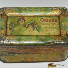 Cajas y cajitas metálicas: ANTIGUA CAJA DE HOJALATA LITOGRAFIADA CON PUBLICIDAD DE LA CUBANA. BADAJOZ. SEBASTIAN NICOLAS, MIDE. Lote 74521505