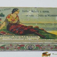 Cajas y cajitas metálicas: CAJA DE HOJALATA LITOGRAFIADA CON PUBLICIDAD DE MEMBRILLO SAN ANTONIO, FÁBRICA VAPOR ANTONIO AGUILA. Lote 74521513