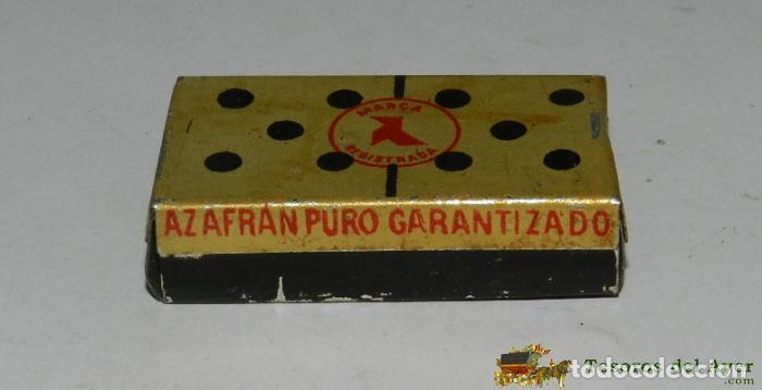 CAJA DE HOJALATA LITOGRAFIADA CON PUBLICIDAD DE AZAFRAN PURO, EXPORTADO POR LA CASA JACINTO FERNANDE (Coleccionismo - Cajas y Cajitas Metálicas)