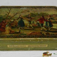 Cajas y cajitas metálicas: ANTIGUA CAJA DE HOJALATA LITOGRAFIADA CON PUBLICIDAD DE BIZCOCHOS BORRACHOS, A HERNANDO GUAJARDO, GU. Lote 74521855