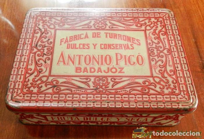 ANTIGUA CAJA DE HOJALATA LITOGRAFIADA CON PUBLICIDAD DE FABRICA DE TUORRONES, DULCES Y CONSERVAS, AN (Coleccionismo - Cajas y Cajitas Metálicas)