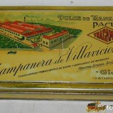 Cajas y cajitas metálicas: ANTIGUA CAJA DE HOJALATA LITOGRAFIADA CON PUBLICIDAD DE TRAGAMON, DULCE DE MANZANA, CHAMPANERA DE VI. Lote 74522562