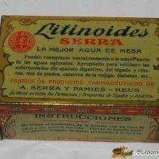 Cajas y cajitas metálicas: ANTIGUA CAJA DE HOJALATA LITOGRAFIADA G. DE ANDREIS DE BADALONA CON PUBLICIDAD DE FARMACIA - LITINOI. Lote 74523382