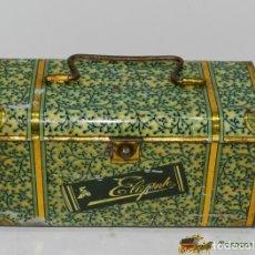 Cajas y cajitas metálicas: ANTIGUA CABAS DE HOJALATA LITOGRAFIADA CON PUBLICIDAD DE ELEGANTE - MIDE 19 X 10 X 13.. Lote 74523541