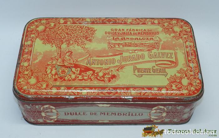 ANTIGUA CAJA DE HOJALATA LITOGRAFIADA CON PUBLICIDAD DE ANTONIO JURADO GALVEZ, PUENTE GENIL, GRAN FA (Coleccionismo - Cajas y Cajitas Metálicas)