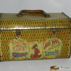 Cajas y cajitas metálicas: ANTIGUO CABAS DE HOJALATA LITOGRAFADA CON PUBLICIDAD DE CAFE SANGAY - JOSE LOPEZ - ARIAS MONTANO 8 D. Lote 74524365