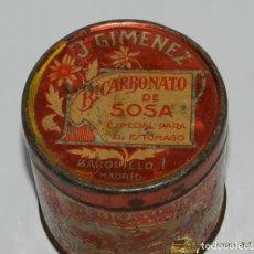 Cajas y cajitas metálicas: ANTIGUA CAJA DE HOJALATA LITOGRAFIADA CON PUBLICIDAD DE FARMACIA, J. GIMENEZ, BICARBONATO DE SOSA, M. Lote 74524629